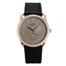 Replique Hermes Arceau Rose Gold Diamond Bezel cas avec bracelet en cuir gris Cadran Noir-36724