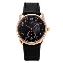 Replik Hermes Arceau Rose Gold Case with Black Dial-Black Leather Strap 36722