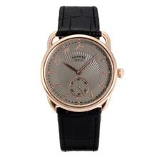 Replique Hermes Arceau boîtier en or rose avec bracelet en cuir gris Cadran Noir-36721