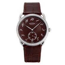 Replique Hermes Arceau Diamond Bezel Dial-café avec bracelet en cuir brun 36716