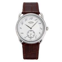 Replique Hermes Arceau Diamond Bezel avec bracelet en cuir brun cadran blanc-36715