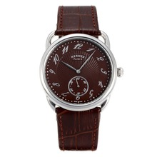 Replique Hermes Arceau avec du café Dial Brown Leather Strap-36714