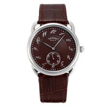 Replique Hermes Arceau avec du café Dial Brown Leather Strap-36714