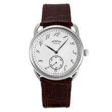 Replique Hermes Arceau avec bracelet en cuir blanc Cadran Brun-36713