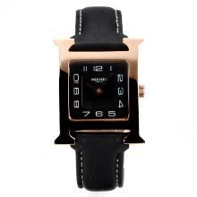 Replique Hermes H, notre boîtier en or rose avec bracelet en cuir noir Cadran Noir-- Attractive Hermes H, notre montre pour vous 36711