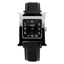 Replique Hermes H, notre avec bracelet en cuir noir Cadran Noir-- Attractive Hermes H, notre montre pour vous 36709