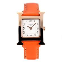 Replique Hermes H, notre boîtier en or rose avec bracelet en cuir cadran blanc-orange - Attractive Hermes H, notre montre pour vous 36707