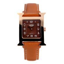 Replique Hermes H, notre boîtier en or rose avec bracelet en cuir café Dial-café - Attractive Hermes H, notre montre pour vous 36705