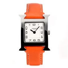 Replique Hermes H, notre Bracelet en cuir blanc Cadran-Orange - Attractive Hermes H, notre montre pour vous 36703