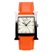 Replique Hermes H, notre Bracelet en cuir blanc Cadran-Orange - Attractive Hermes H, notre montre pour vous 36700