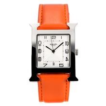 Replique Hermes H, notre Bracelet en cuir blanc Cadran-Orange - Attractive Hermes H, notre montre pour vous 36699