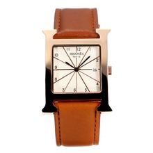 Replique Hermes H, notre boîtier en or rose avec bracelet en cuir cadran blanc-café - Attractive Hermes H, notre montre pour vous 36698