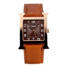 Replique Hermes H, notre boîtier en or rose avec bracelet en cuir café Dial-café - Attractive Hermes H, notre montre pour vous 36697