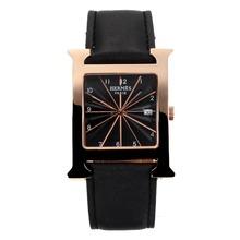 Replique Hermes H, notre boîtier en or rose avec bracelet en cuir noir Cadran Noir-- Attractive Hermes H, notre montre pour vous 36696