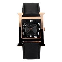 Replique Hermes H, notre boîtier en or rose avec bracelet en cuir noir Cadran Noir-- Attractive Hermes H, notre montre pour vous 36695
