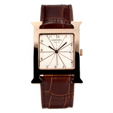Replik Hermes H-our Rose Gold Case with White Dial-Dark Coffee Leather Strap – Attractive Hermes H-our Watch for You 36694