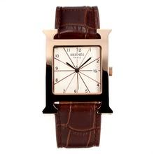 Replique Hermes H, notre boîtier en or rose avec cadran blanc-bracelet en cuir noir Café - Attractive Hermes H, notre montre pour vous 36694