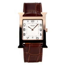 Replique Hermes H, notre boîtier en or rose avec cadran blanc-bracelet en cuir noir Café - Attractive Hermes H, notre montre pour vous 36693