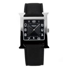 Replique Hermes H, notre avec bracelet en cuir noir Cadran Noir-- Attractive Hermes H, notre montre pour vous 36691