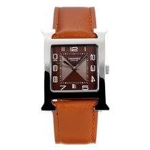 Replique Hermes H, notre café avec bracelet en cuir noir Cadran-café - Attractive Hermes H, notre montre pour vous 36690