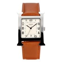 Replique Hermes H, notre avec bracelet en cuir cadran blanc-café - Attractive Hermes H, notre montre pour vous 36689