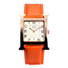 Replique Hermes H, notre boîtier en or rose avec bracelet en cuir cadran blanc-orange - Attractive Hermes H, notre montre pour vous 36688