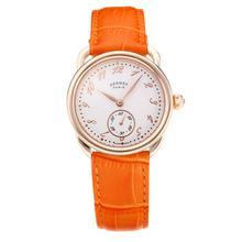 Replique Hermes Arceau boîtier en or rose avec cadran blanc-bracelet en cuir orange-verre de saphir 36687
