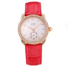 Replique Hermes Arceau Rose Gold Diamond Bezel boîtier avec cadran blanc-bracelet en cuir Peachblow-verre de saphir 36686