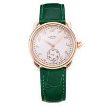 Replique Hermes Arceau boîtier en or rose avec cadran blanc-bracelet en cuir vert-verre de saphir 36685