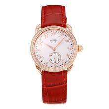 Replique Hermes Arceau Rose Gold Diamond Bezel boîtier avec cadran blanc en cuir-Rouge Strap-verre de saphir 36684