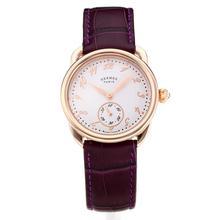 Replique Hermes Arceau boîtier en or rose avec cadran blanc-bracelet en cuir violet-verre de saphir 36682