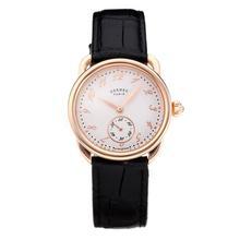 Replique Hermes Arceau boîtier en or rose avec cadran blanc-bracelet en cuir noir-verre de saphir 36681