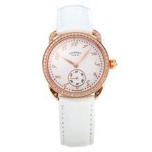 Replique Hermes Arceau Rose Gold Diamond Bezel boîtier avec cuir blanc Cadran Blanc Bracelet-verre de saphir-36680