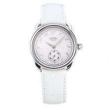 Replique Hermes Arceau avec cadran blanc-bracelet en cuir blanc-verre de saphir 36679