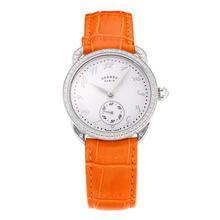 Replique Hermes Arceau Diamond Bezel avec cadran blanc-bracelet en cuir orange-verre de saphir 36678