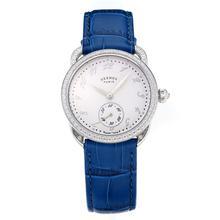 Replique Hermes Arceau Diamond Bezel avec cadran blanc-bracelet en cuir bleu-saphir Verre 36676