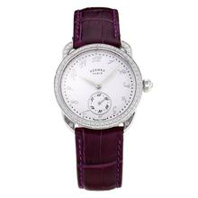 Replique Hermes Arceau Diamond Bezel avec cadran blanc-bracelet en cuir violet-verre de saphir 36675