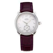 Replique Hermes Arceau avec cadran blanc-bracelet en cuir violet-verre de saphir 36674