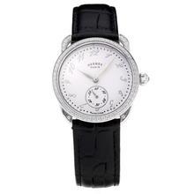 Replique Hermes Arceau Diamond Bezel avec cadran blanc-bracelet en cuir noir-verre de saphir 36673
