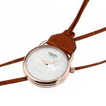 Replique Hermes Arceau Promenade de Longchamp en or rose Montre de poche avec cadran blanc 36667