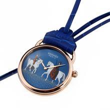 Replique Hermes Arceau Amazones Or rose Montre de poche avec cadran bleu 36663
