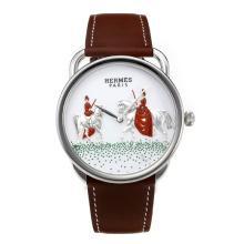 Replique Hermes Arceau nouvelles Amazones avec bracelet en cuir cadran blanc-café 36646