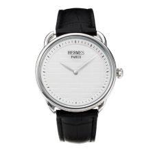 Replique Hermes classique avec cadran blanc-bracelet en cuir - Attractive Hermes montre classique pour vous 36645