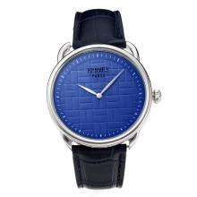 Replique Hermes classique avec cadran bleu-bracelet en cuir - Attractive Hermes montre classique pour vous 36644