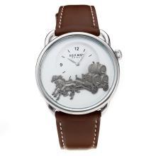 Replique Hermes classique avec cadran blanc-bracelet en cuir - Attractive Hermes montre classique pour vous 36642