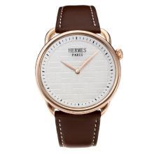 Replique Hermes classique boîtier en or rose avec cadran blanc-bracelet en cuir - Attractive Hermes montre classique pour vous 36641
