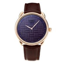 Replique Hermes classique boîtier en or rose avec cadran violet-bracelet en cuir - Attractive Hermes montre classique pour vous 36640