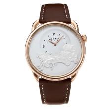 Replique Hermes classique boîtier en or rose avec cadran blanc-bracelet en cuir - Attractive Hermes montre classique pour vous 36639