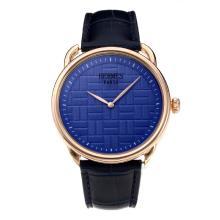 Replique Hermes classique boîtier en or rose avec cadran bleu-bracelet en cuir - Attractive Hermes montre classique pour vous 36638