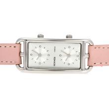 Replique Hermes Cape Cod Deux Zone cadran blanc avec Pink Strap-Taille-Dame - Attractive Hermes Cape Cod montre pour vous 36927